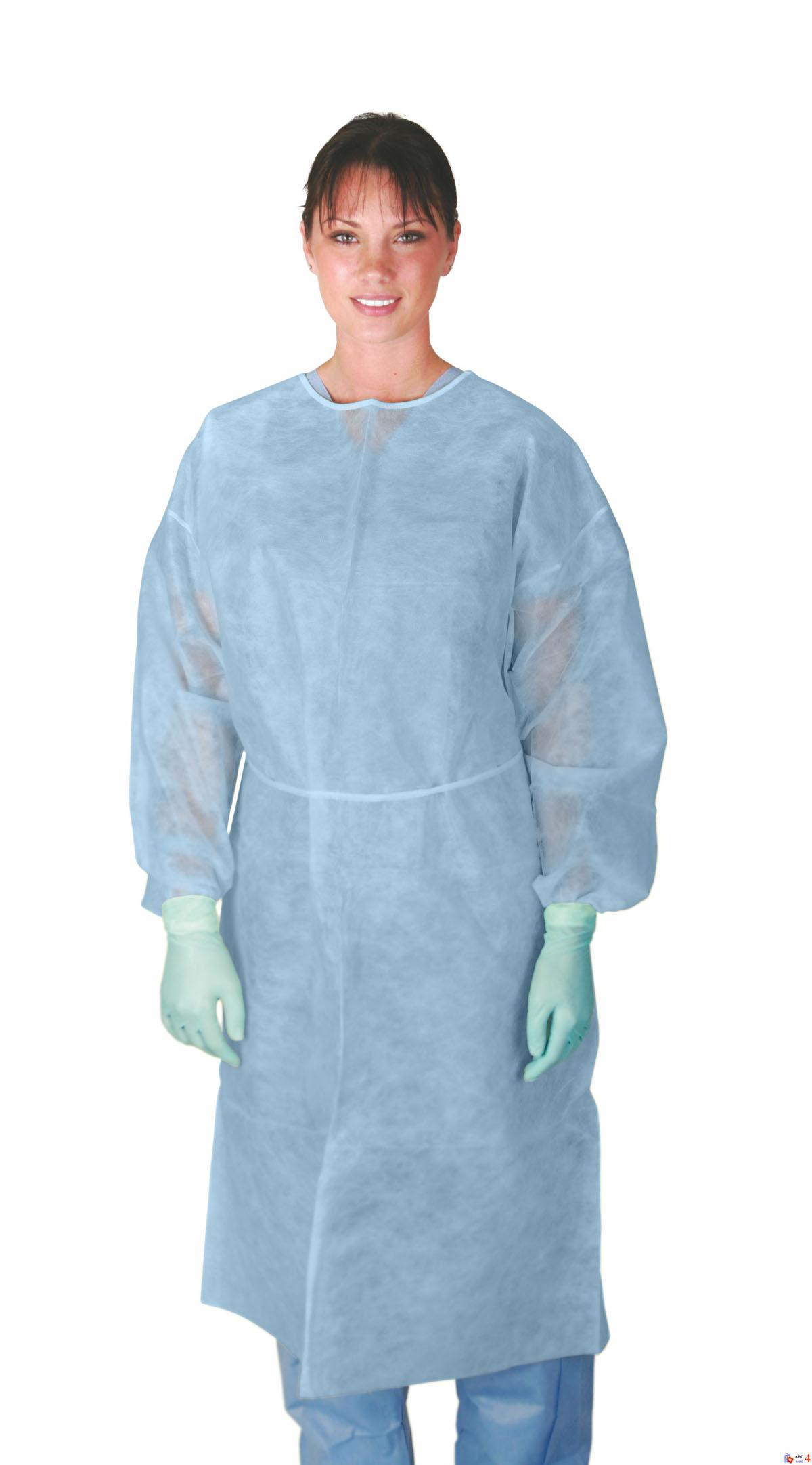 MDS Disposable Lightweight Blue Polypropylene Cover Gowns w/ Elastic Cuffs