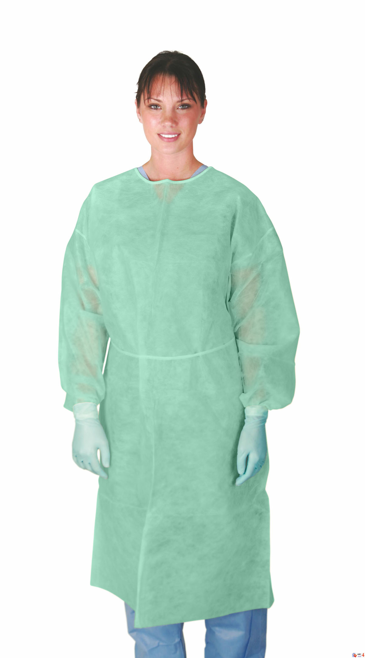 MDS Disposable Lightweight Green Polypropylene Cover Gowns w/ Elastic Cuffs