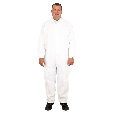 Safety Zone® Individually Bagged Disposable Microporous White Protective Coveralls w/ Elastic Cuffs
