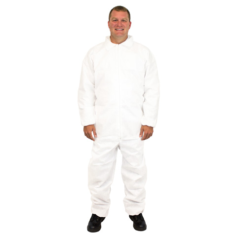 #DCBH-SIZE-SMS-EWA White SMS (Multi-ply) Protective Coveralls w/ Elastic Cuffs