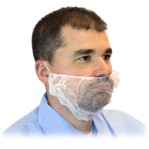 #DBRD-1000 Disposable White Lightweight Polypropylene Beard Covers