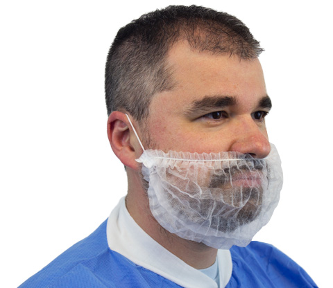 #DBRD-1000-MM Disposable White Lightweight Pleated Polypropylene Beard Covers