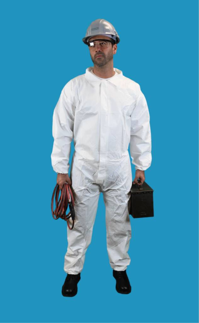 #CE-CVL-KG-E-BULK KEYGUARD COVERALL WITH ELASTIC WRISTS AND ANKLES-ZIPPER FRONT-SINGLE COLLAR-ELASTIC BAND THUMB LOOPS-3 VELCRO PATCH STORM FLAP CLOSURE AND DOUBLE ZIPPER ANTI STATIC