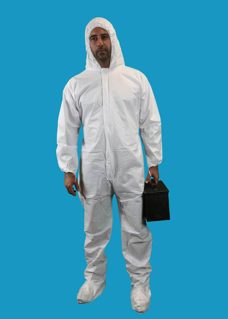 #CE-CVL-KG-E KEYGUARD COVERALL WITH ELASTIC WRISTS AND ANKLES-ZIPPER FRONT-SINGLE COLLAR-ELASTIC BAND THUMB LOOPS-3 VELCRO PATCH STORM FLAP CLOSURE AND DOUBLE ZIPPER ANTI STATIC