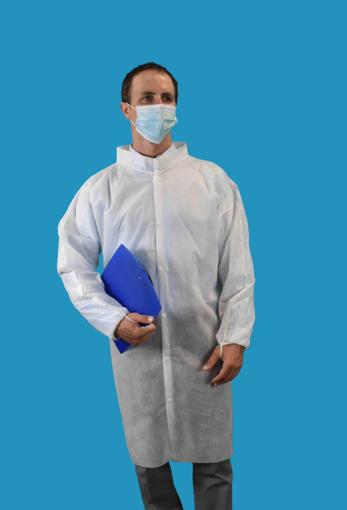 #CEF0-WE-NW-HD Keystone Heavy Duty Polypropylene No Pocket Disposable Cleanroom Frocks