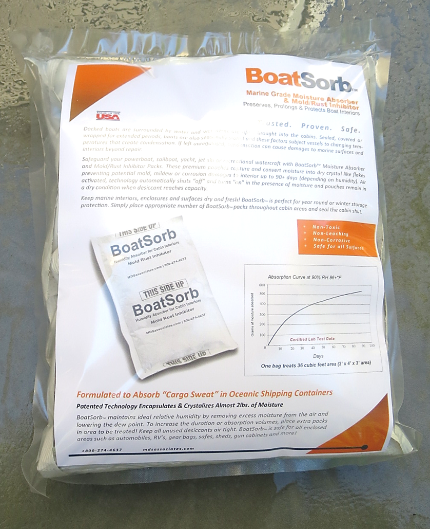 BoatSorb Commercial Moisture Control Mold Prevention Pouches for Marine Cabins and Interiors 4-pack