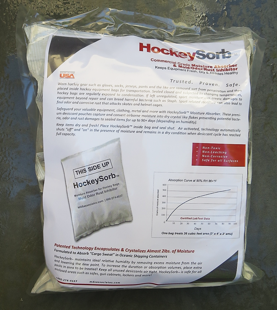 HockeySorb™ Commercial Moisture Absorber and  Mold/Odor/Rust Inhibitor Pouches  4-pack