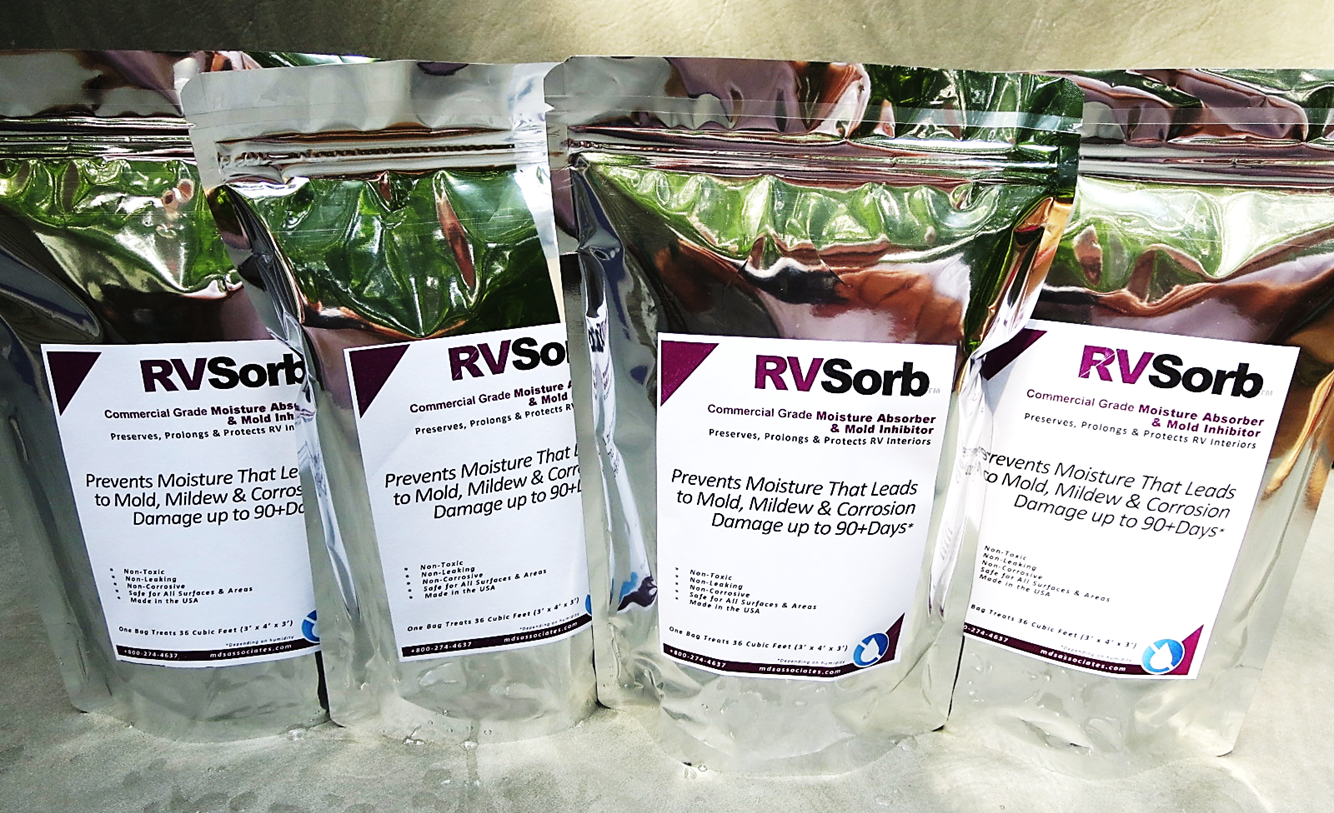RVSorb™ Commercial Moisture Control Mold Prevention Pouches for Recreational Vehicle Cabins and  Interiors