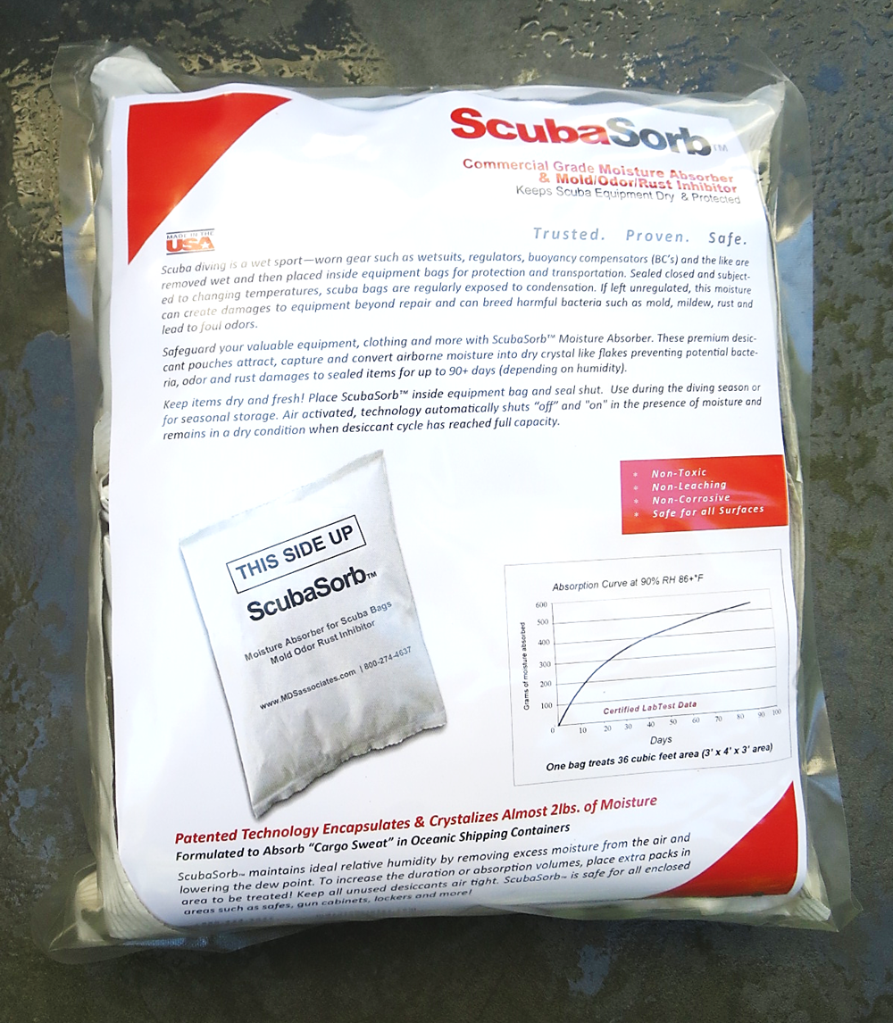 ScubaSorb™ Commercial Moisture Absorber and  Mold/Odor/Rust Inhibitor Pouches 4-pack