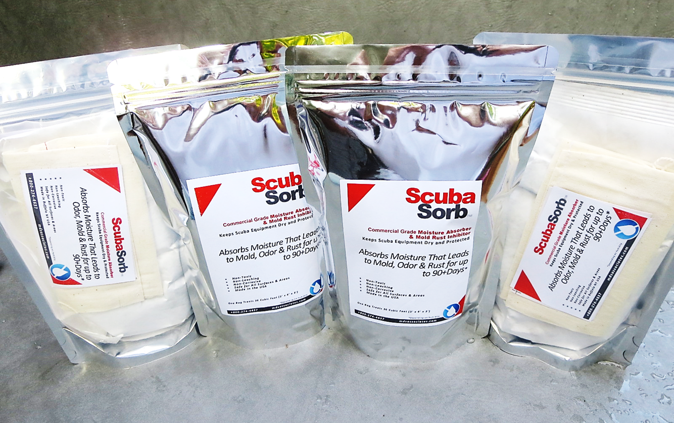 ScubaSorb™ Commercial Moisture Absorber and  Mold/Odor/Rust Inhibitor Pouches