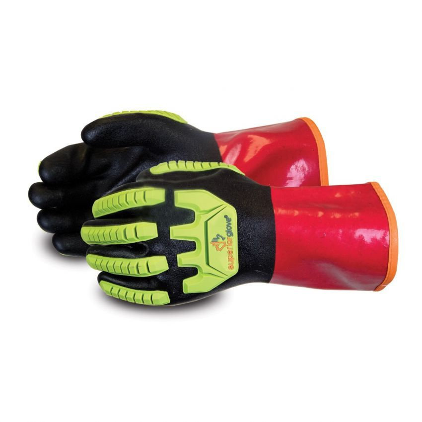 #S15KGVNFVB Superior Glove® Chemstop™ Cut-Resistant Anti-Impact PVC Chemical Safety Gloves With Fleece Liner and Full Nitrile Coating