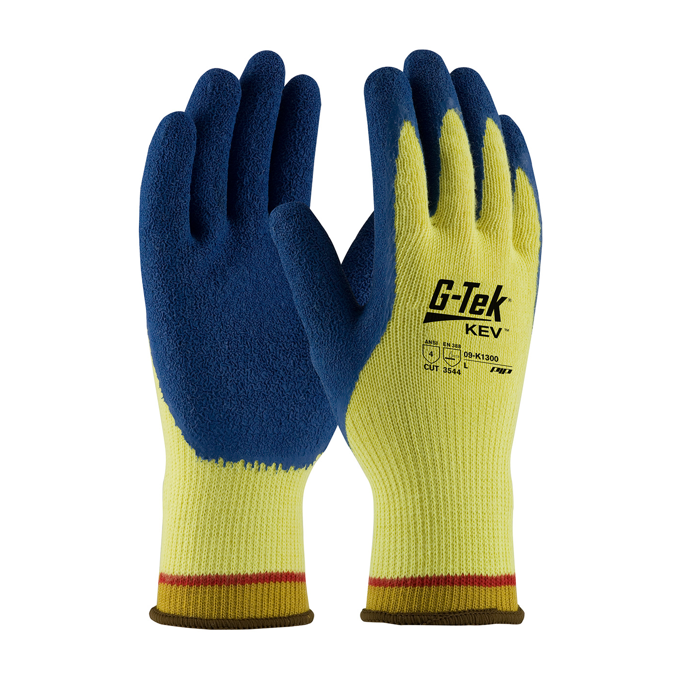 #09-K1300 PIP G-Tek® KEV Latex Coated Cut-Resistant Protective Work Gloves. Cut level 4.