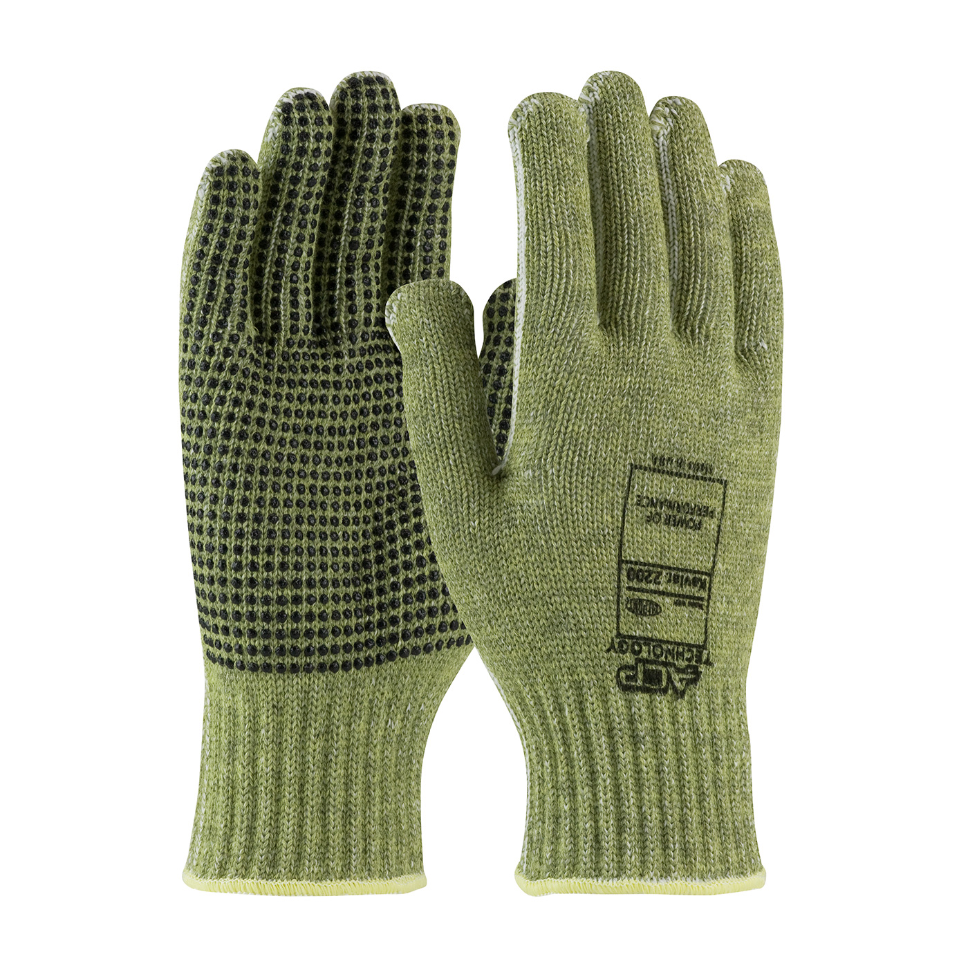 08-KA740PD PIP®  ACP Technology™ Economy Weight Kevlar® Glove w/ Polyester Lining and Green PVC Dot Grip