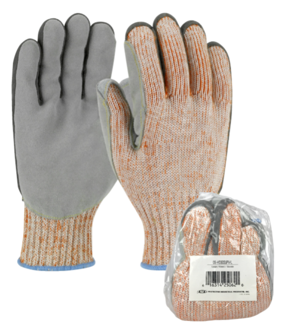 #09-H550SLPV PIP® Scrap King™ Seamless Knit PolyKor Engineered Yarn Glove with Split Cowhide Leather