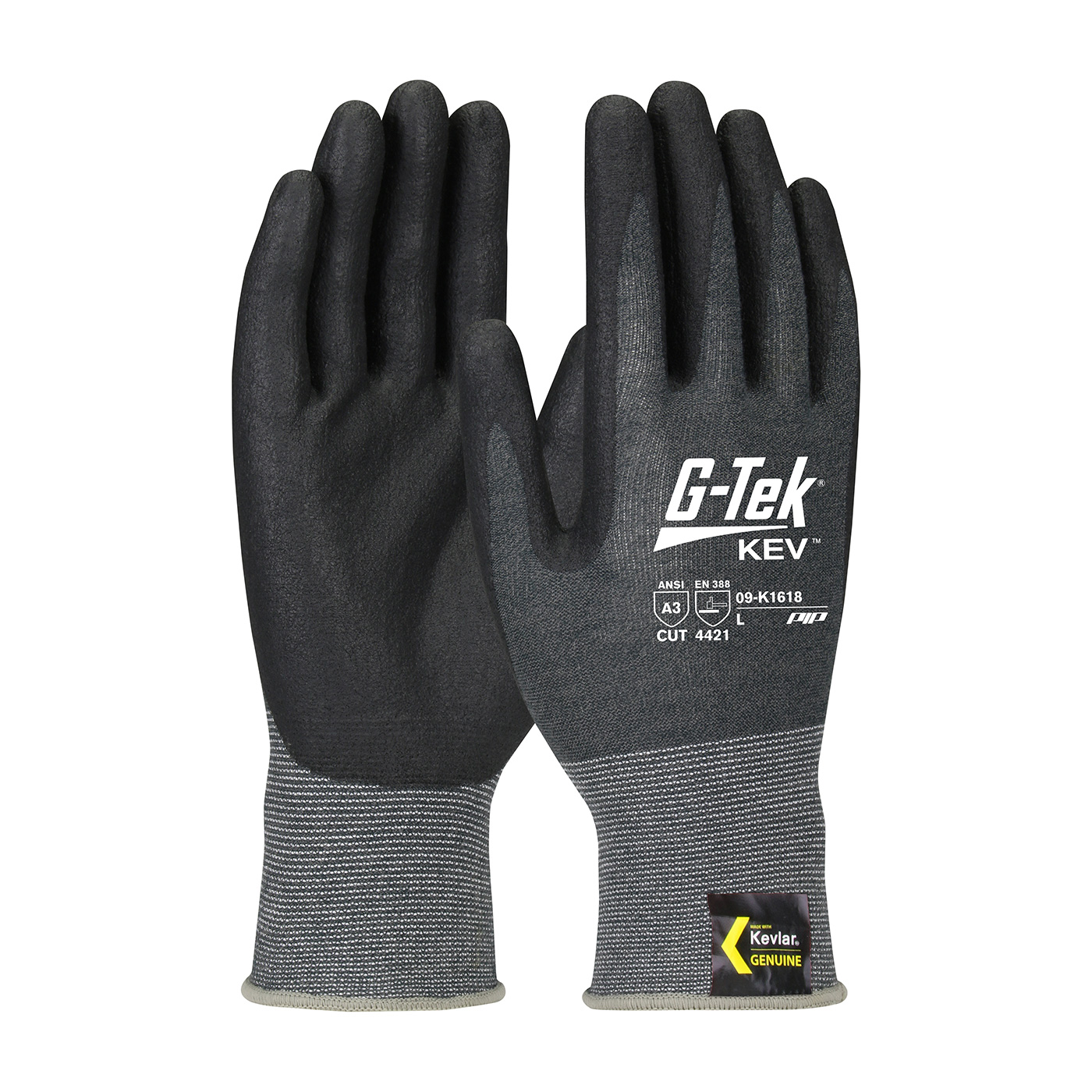 #09K1618 PIP® G-Tek® Kev™ Kevlar® Foam Nitrile Coated Palm and Fingers Seamless Knit Gloves