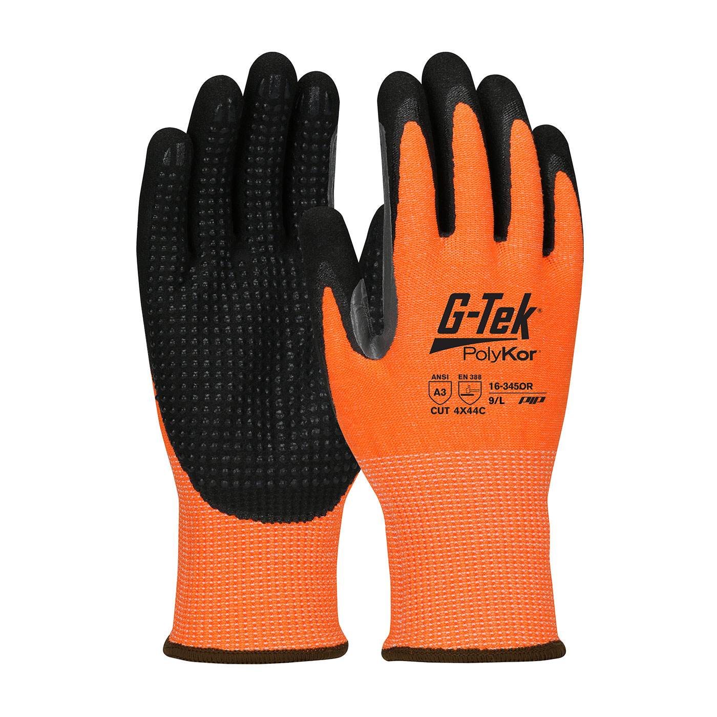 #16-345OR PIP® G-Tek® PolyKor™ Hi-Vis Double Dipped Micor Nitrile Coated Gloves