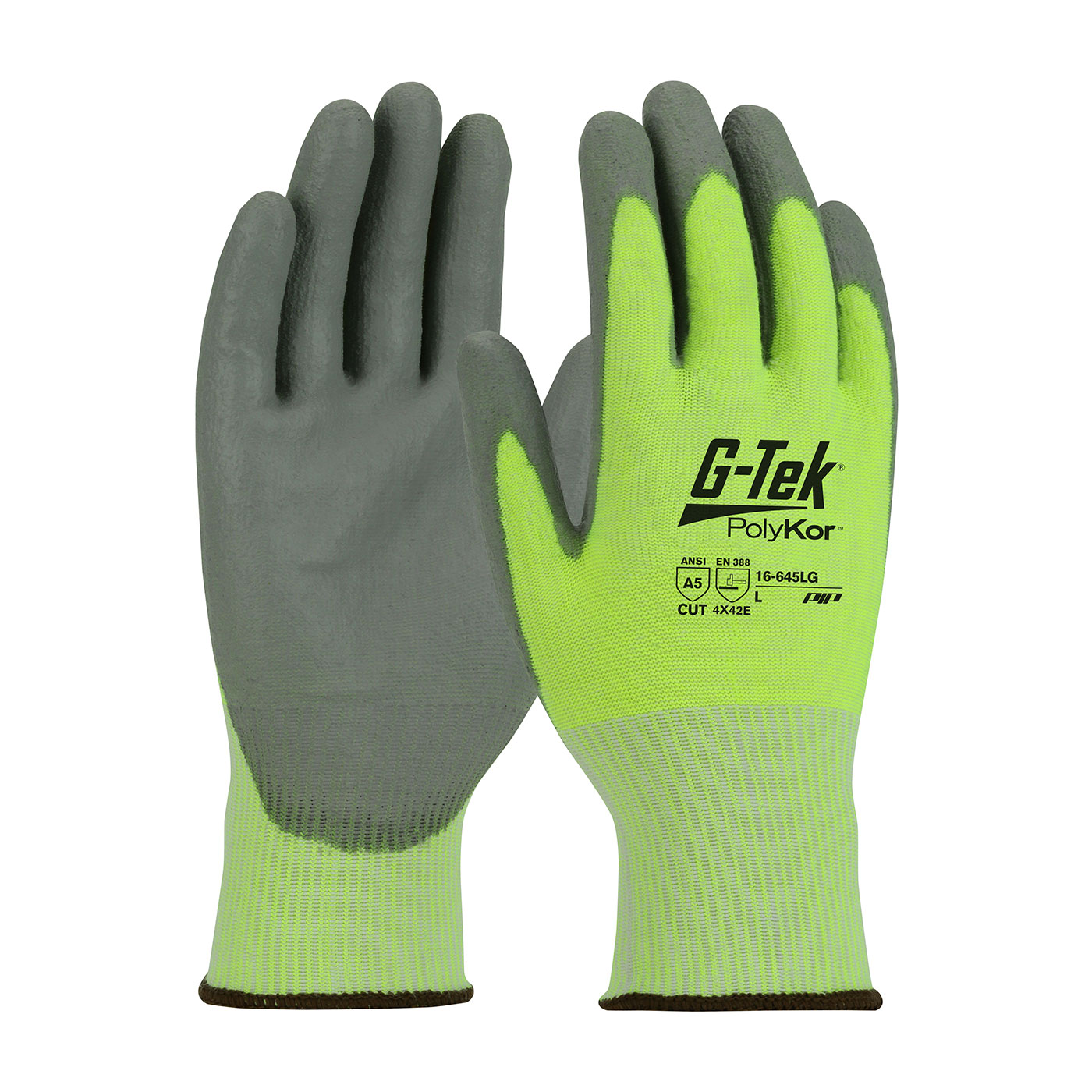 #16-645LG PIP® Hi-Viz G-Tek® PolyKor™ PU Coated Grip A5 Cut Gloves