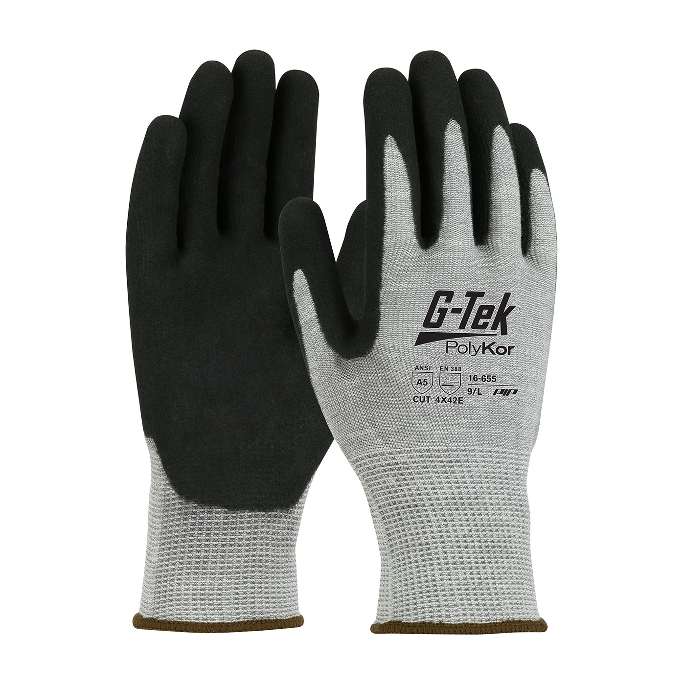 PIP G-Tek® PolyKor™ Double Dipped Nitrile Coated MicroSurface Grip A5 Cut Gloves #16-655