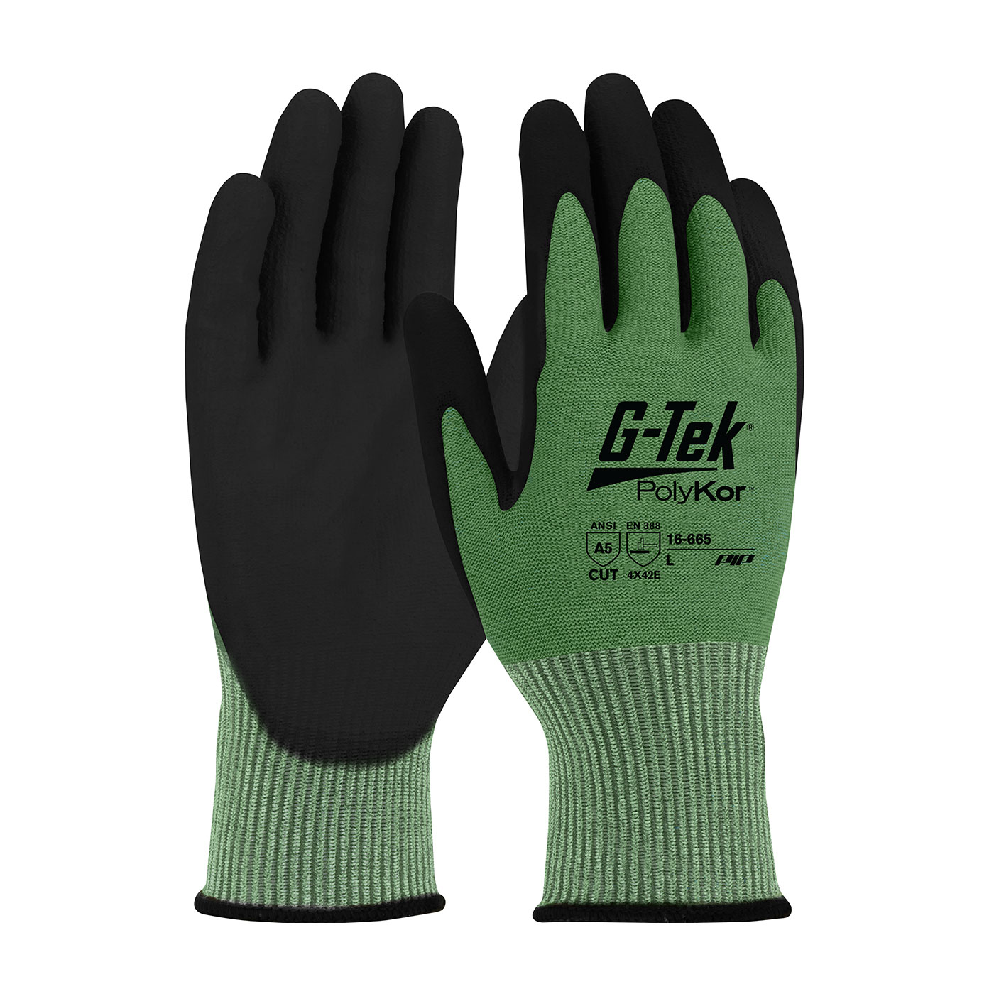 #16-665 PIP® G-Tek® PolyKor™ PU Coated Grip A5 Cut Gloves