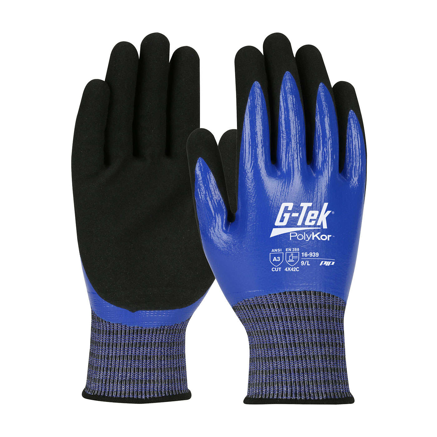 PIP® G-Tek® PolyKor® X7™ Fully Coated Seamless Knit X7™ Blended Glove with nitrile microsurface grip - Touchscreen Compatible #16-939
