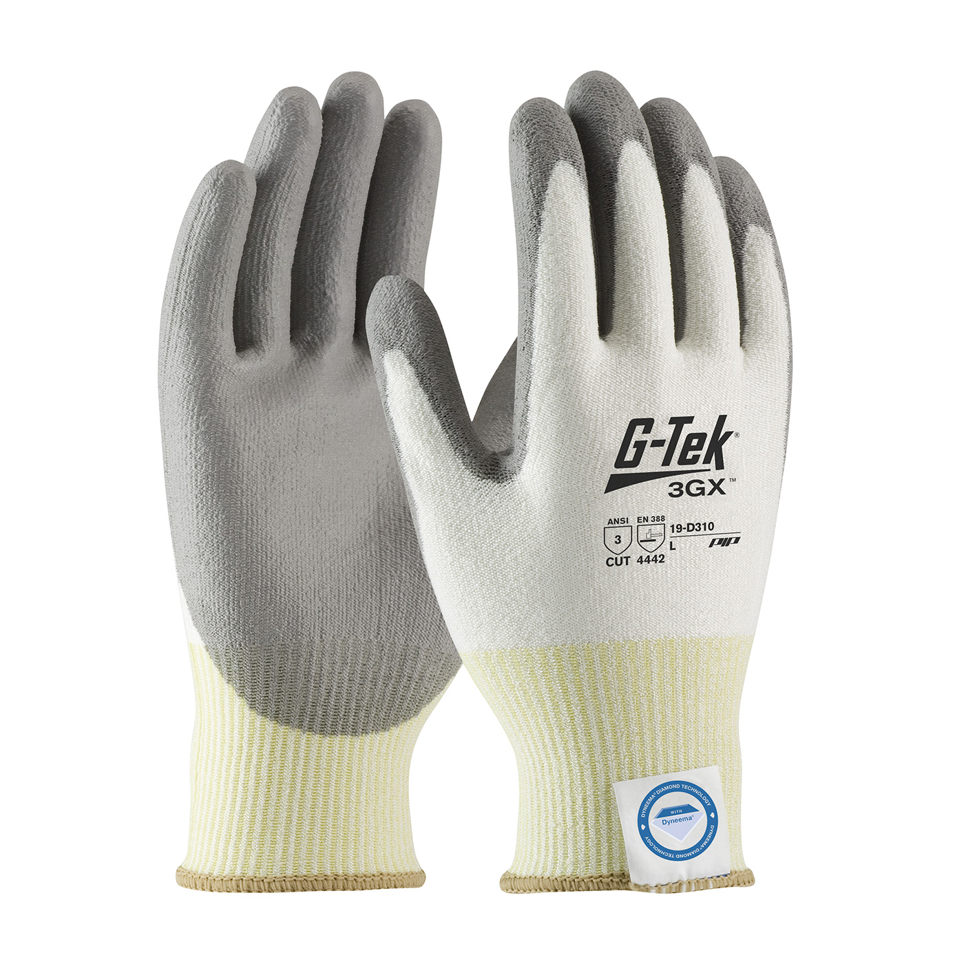 #19-D310 PIP G-Tek® 3GX Dyneema® Diamond Cut-Resistant Protective Work Glove w/ Polyurethane Coating provide Cut level A3 protection