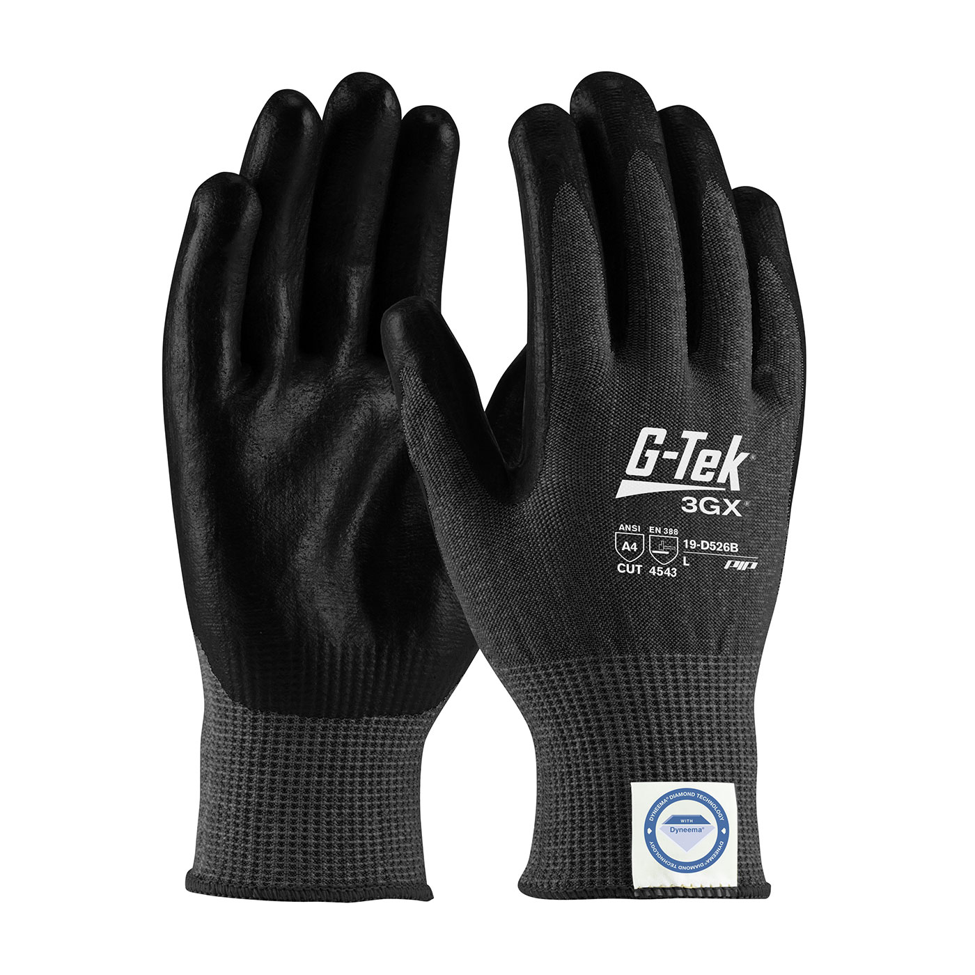 19-D526B PIP® G-Tek® 3GX® Black Seamless Knit Dyneema® Diamond Blended Glove with Polyurethane Coated Smooth Grip on Palm & Fingers - Touchscreen Compatible