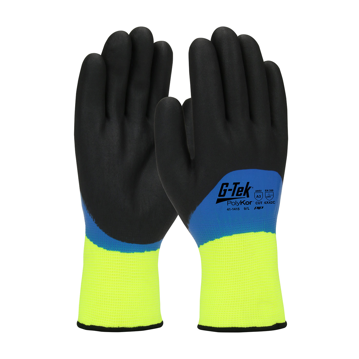 #41-1415 PIP® G-Tek® Hi-Vis Seamless Knit PolyKor Glove with Acrylic Liner and Double Dipped Nitrile Coated Foam Grip on Full Hand