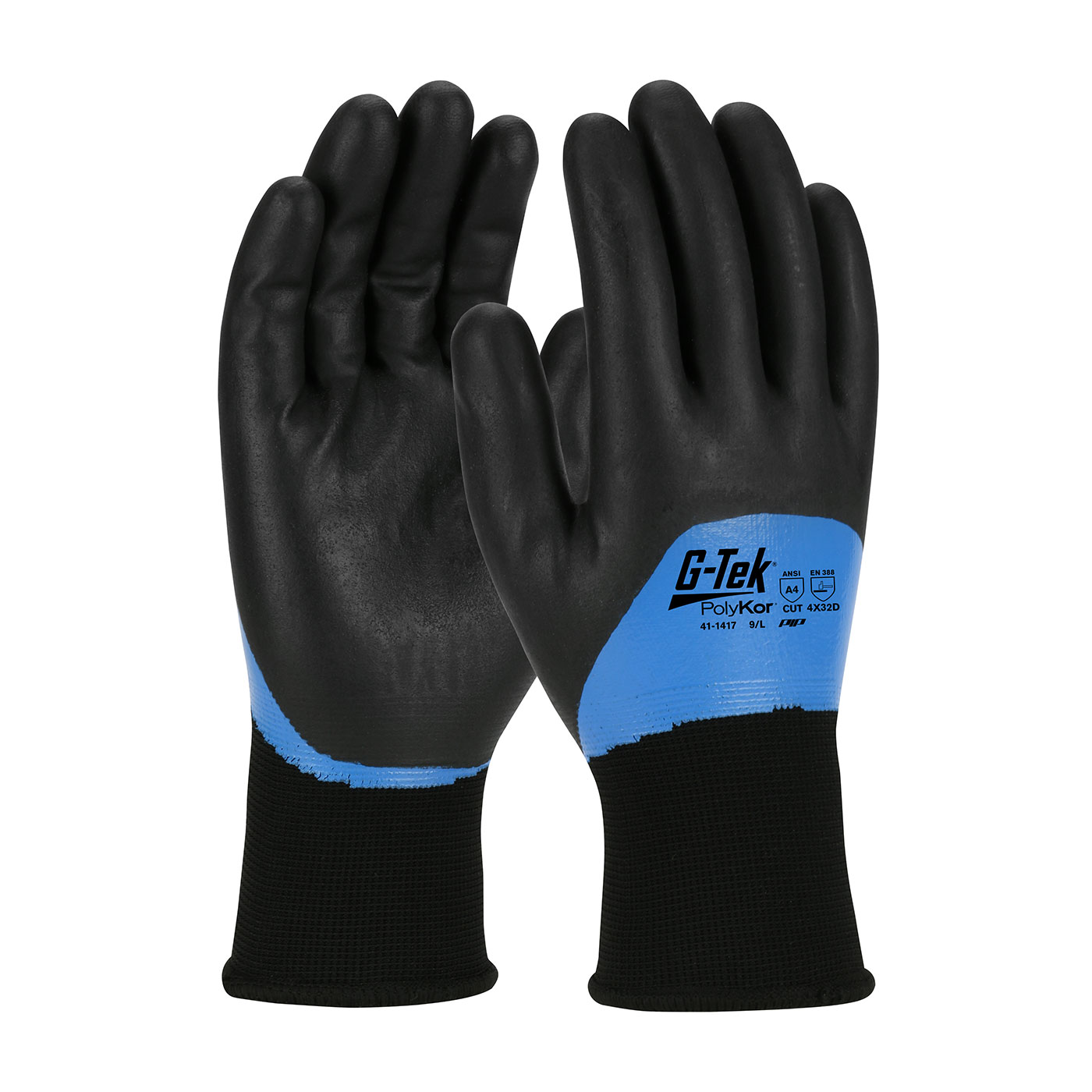 #41-1417 PIP® G-Tek® Seamless Knit PolyKor Glove with Acrylic Liner and Double Dipped Nitrile Coated Foam Grip on Full Hand