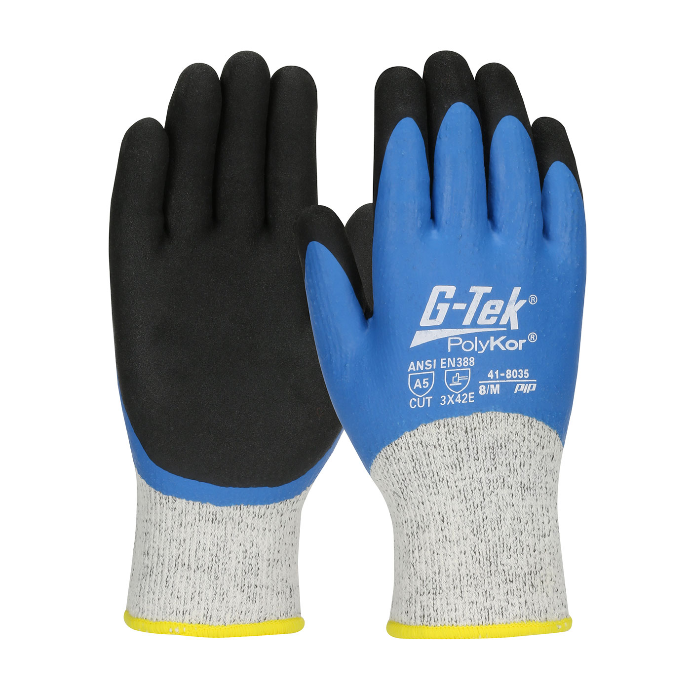 #41-8035 PIP® G-Tek® Seamless Knit PolyKor® Glove with Acrylic Liner and Double Dipped Latex  Coated MicroSurface Grip on Full Hand