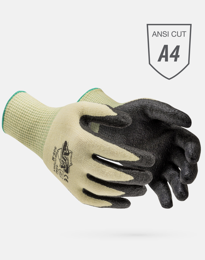 MDS Black Hybrid Palm Coated ATA® Knit A$ Cut Resistant Gloves