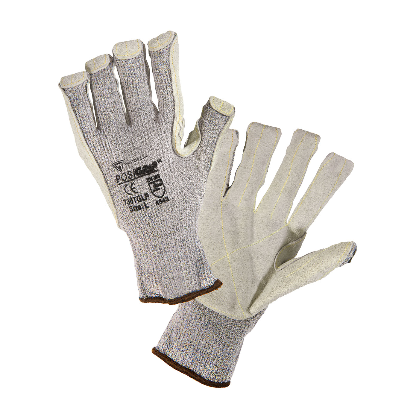 #730TGLP PIP® West Chester PosiGrip®  Seamless Knit HPPE Blended Glove with Split Cowhide Leather Palm and Kevlar® Stitching