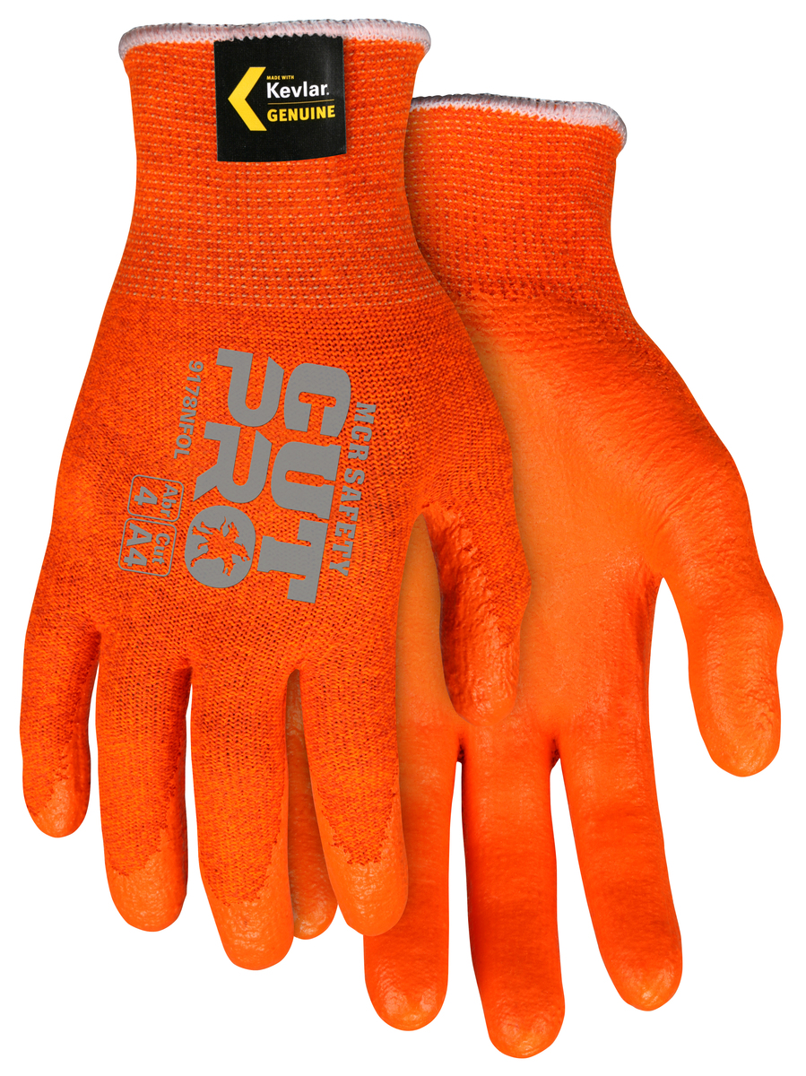 9178NFO  MCR Safety Hi-Vis Cut Pro® 13 Gauge Orange Kevlar® Nitrile foam coated palm Work Gloves