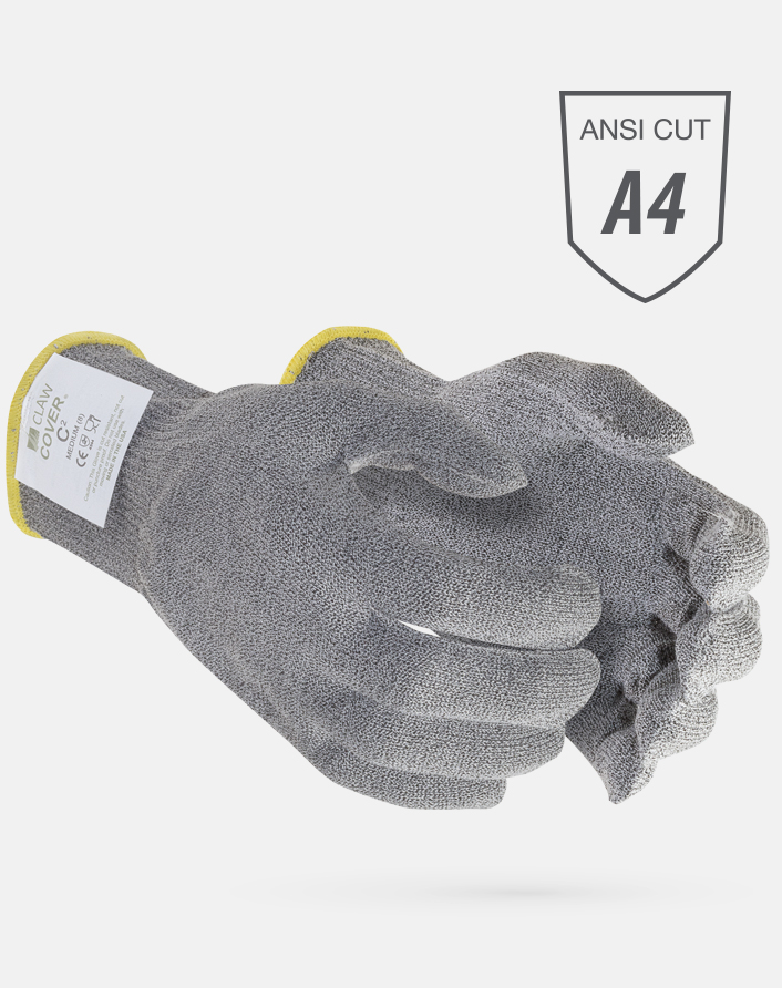 Claw Cover® ANSI Cut Level A4 Gray Synthetic String Knit Microban Foodservice Gloves