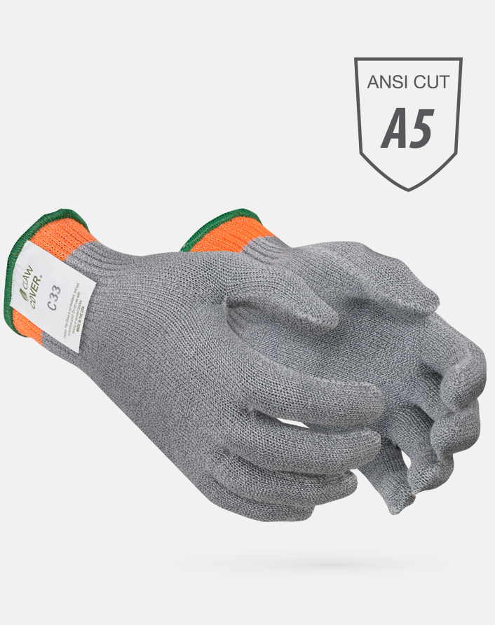Gray Claw Cover® ANSI Cut Level A5 String Knit Microban Foodservice Gloves with Hi-Viz Orange Band at Cuff
