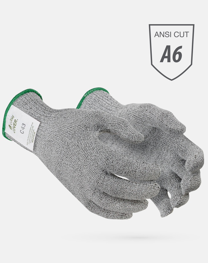Gray Claw Cover® ANSI Cut Level A6 String Knit Microban Foodservice Gloves