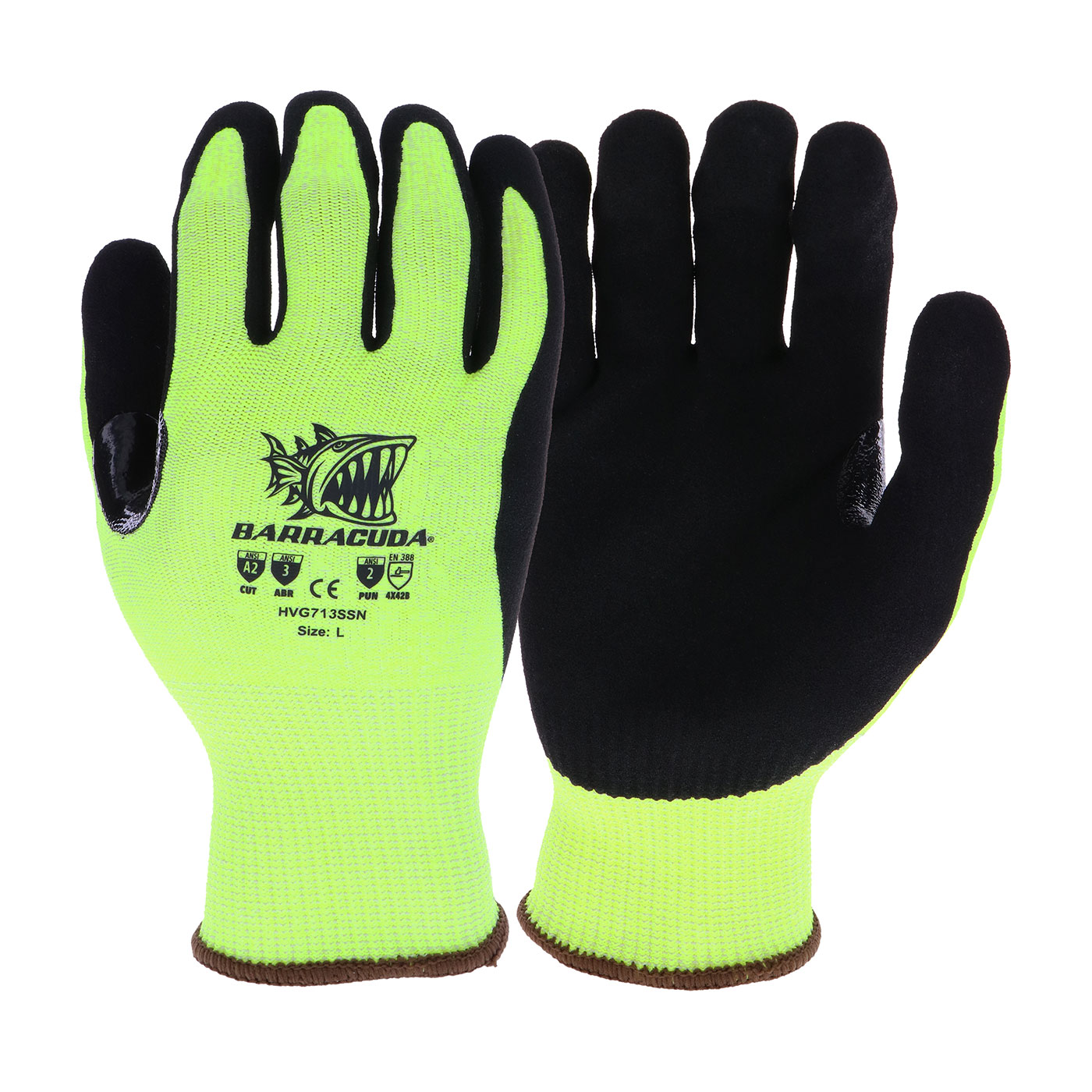 #HVG713SSN PIP® West Chester Hi-vis Barracuda Seamless Knit Touch Glove with Nitrile Coated Palm Grip
