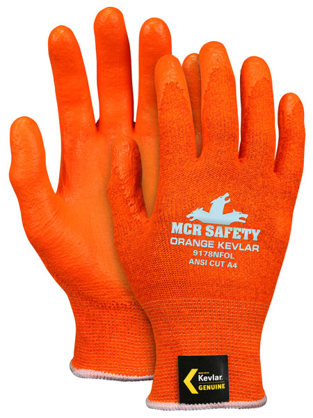 9178NFO - Memphis® Orange Kevlar, 13 gauge, hi-vis orange DuPont™ Kevlar® shell, nitrile foam palm