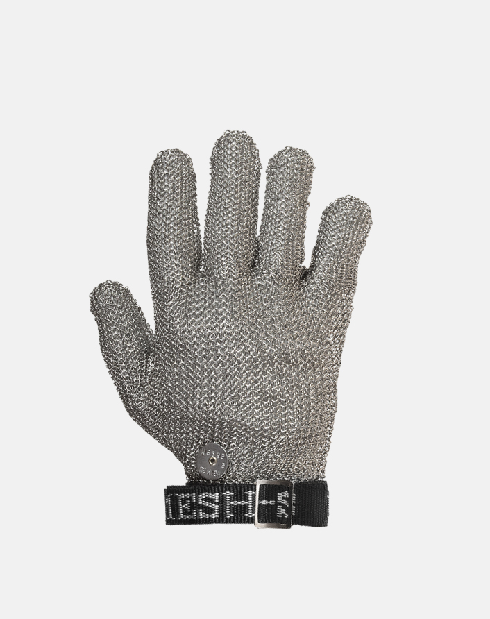 US Mesh® Medium Weight Wrist-Length Stainless Steel Metal Mesh Glove with sewn on web strap and snap