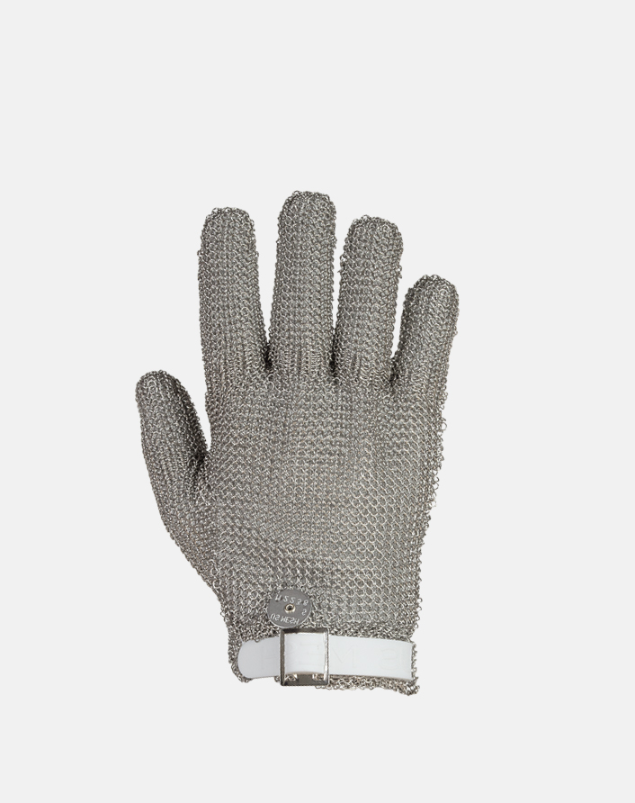 US Mesh® Medium Weight Stainless Steel Metal Mesh Glove with choice of silicone strap closure
