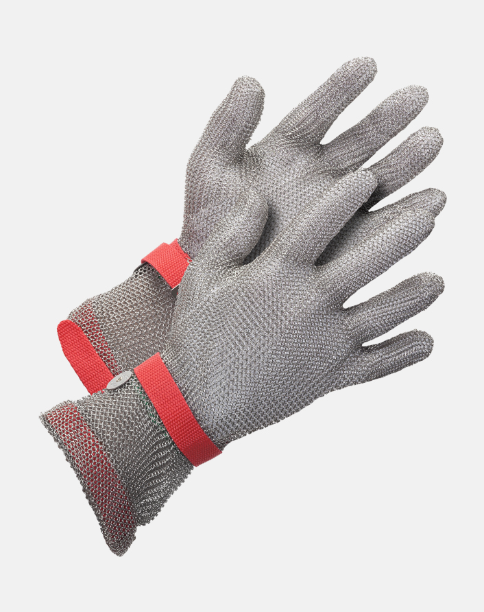 US Mesh® Medium Weight Extended Cuff Stainless Steel Metal Mesh Glove with choice of silicone strap closure