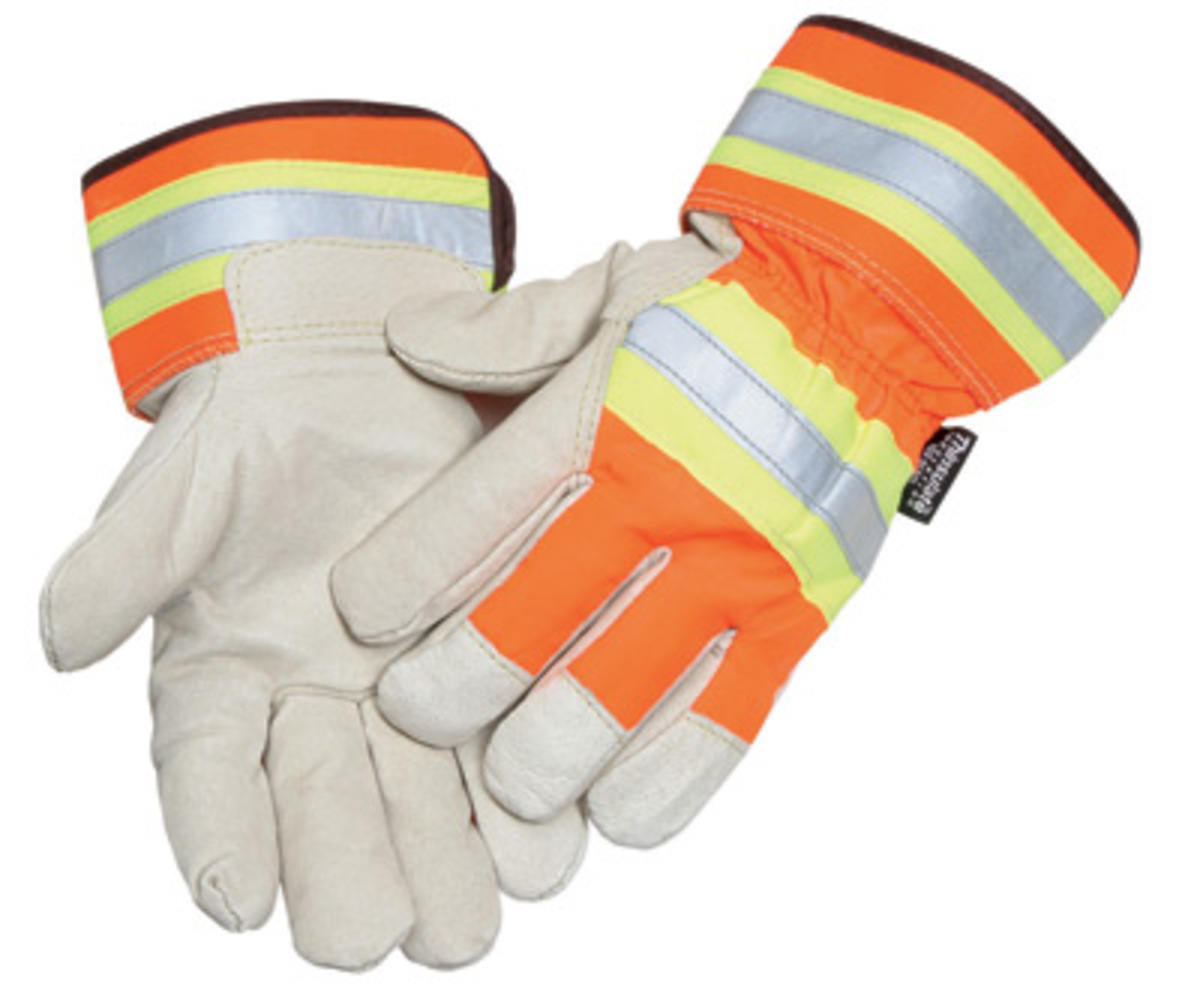 MDS Hi-Vis Retro-Reflective Thinsulate® Lined Pigskin Leather Palm Gloves w/ Safety Cuffs