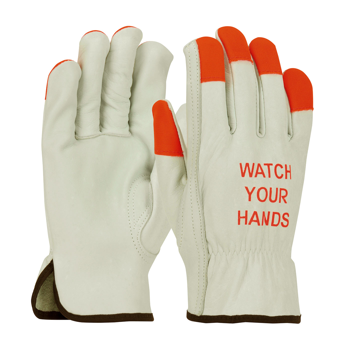 #68-162HV PIP® Cowhide Driver's Work Gloves w/ Hi-Viz Finger Tips & Imprinted Warning on Back