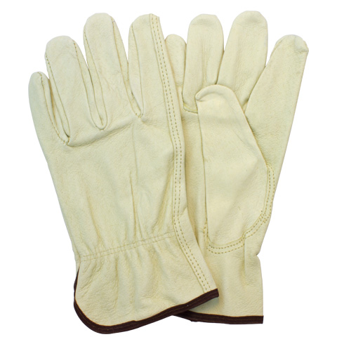 #GLD2-SIZE-POB Safety Zone® Beige Top Grain Cow Leather Drivers Work Gloves with Keystone Thumbs