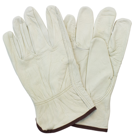 #GLD5-SIZE-POB Safety Zone® Economy Beige Leather Drivers Work Gloves with Keystone Thumbs