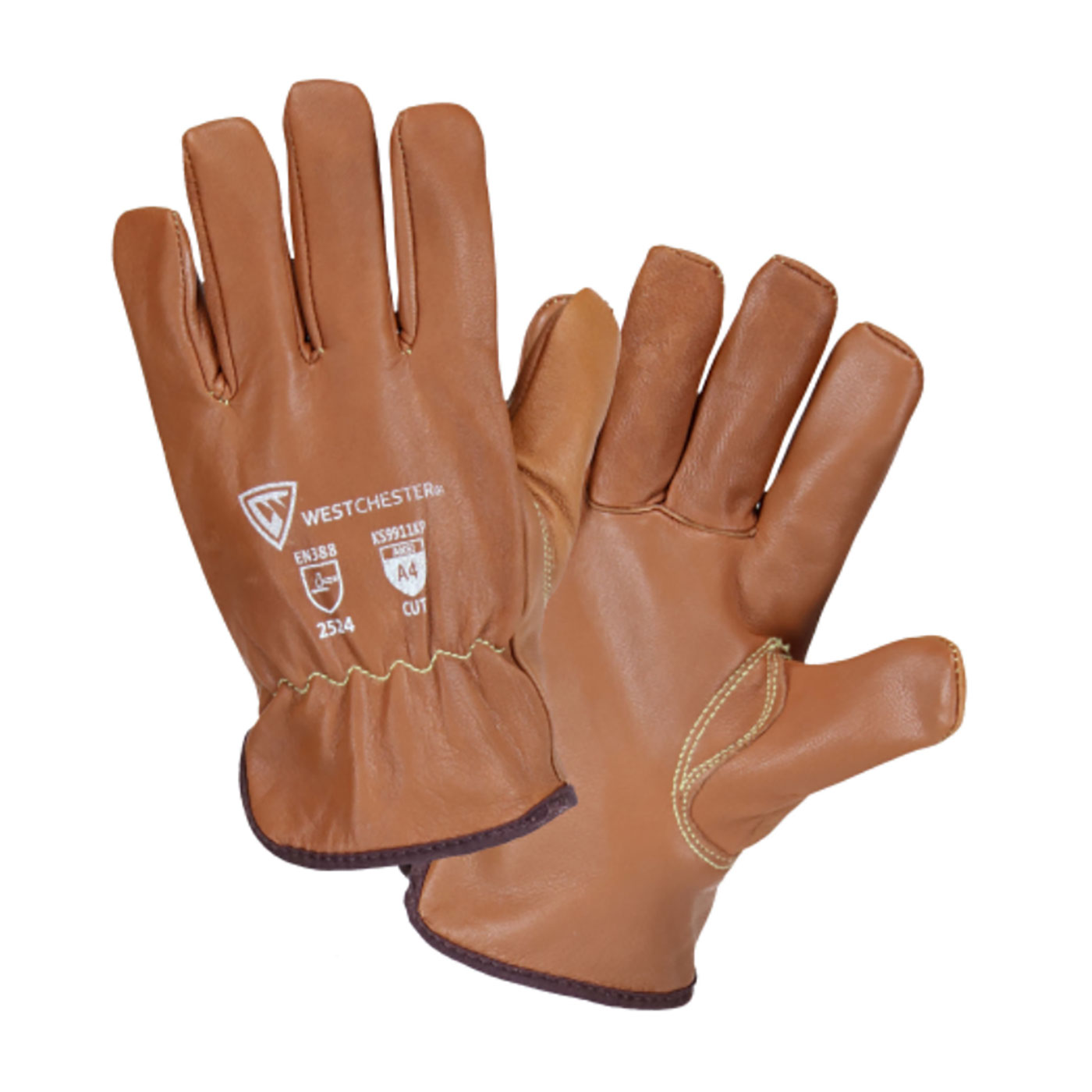 KS9911KP PIP® West Chester® Top Grain Goatskin Leather Drivers Glove with Para-Aramid and Fleece Lining feature Oil Armor™