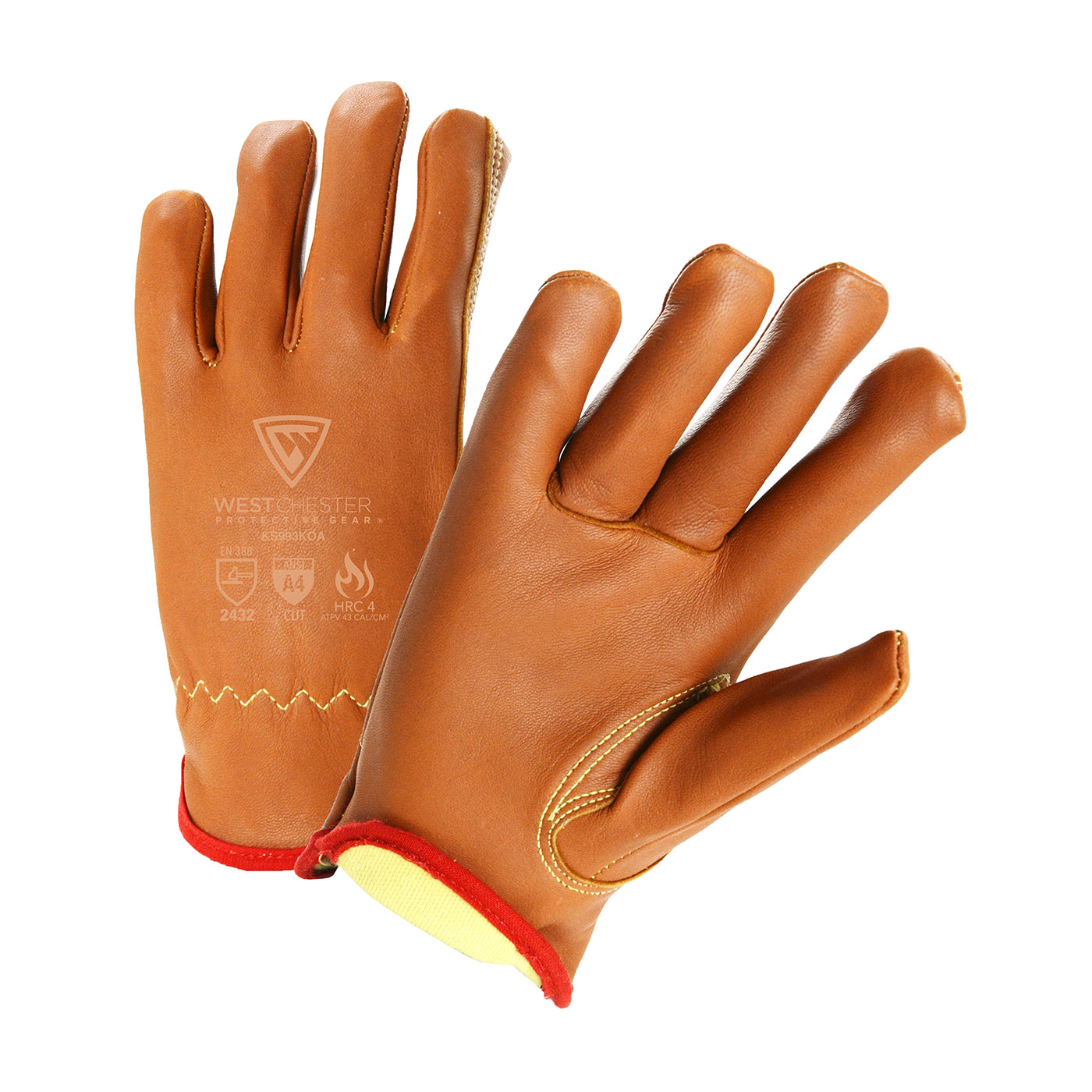 KS993KOA PIP® West Chester® Top Grain Goatskin Leather Drivers Glove with Para-Aramid Lining and Keystone Thumb feature Oil Armor™