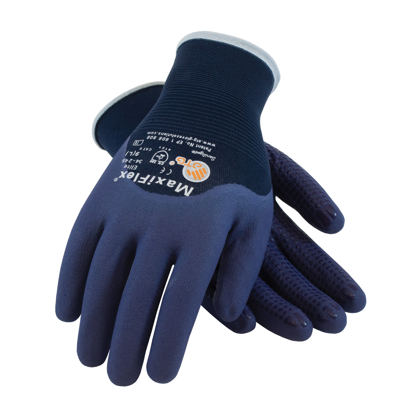 #34-245 MaxiFlex® Elite™ Nylon Gloves feature a nitrile dotted palm with a blue full finger and 3/4 knuckle coating