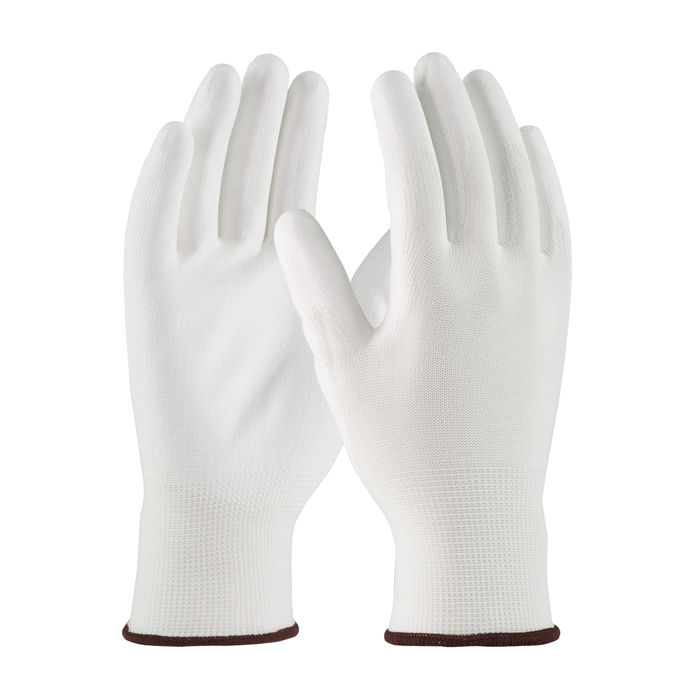 PIP® Seamless Knit White Polyester Glove with White Polyurethane Coated Smooth Grip on Palm & Fingers #33-115
