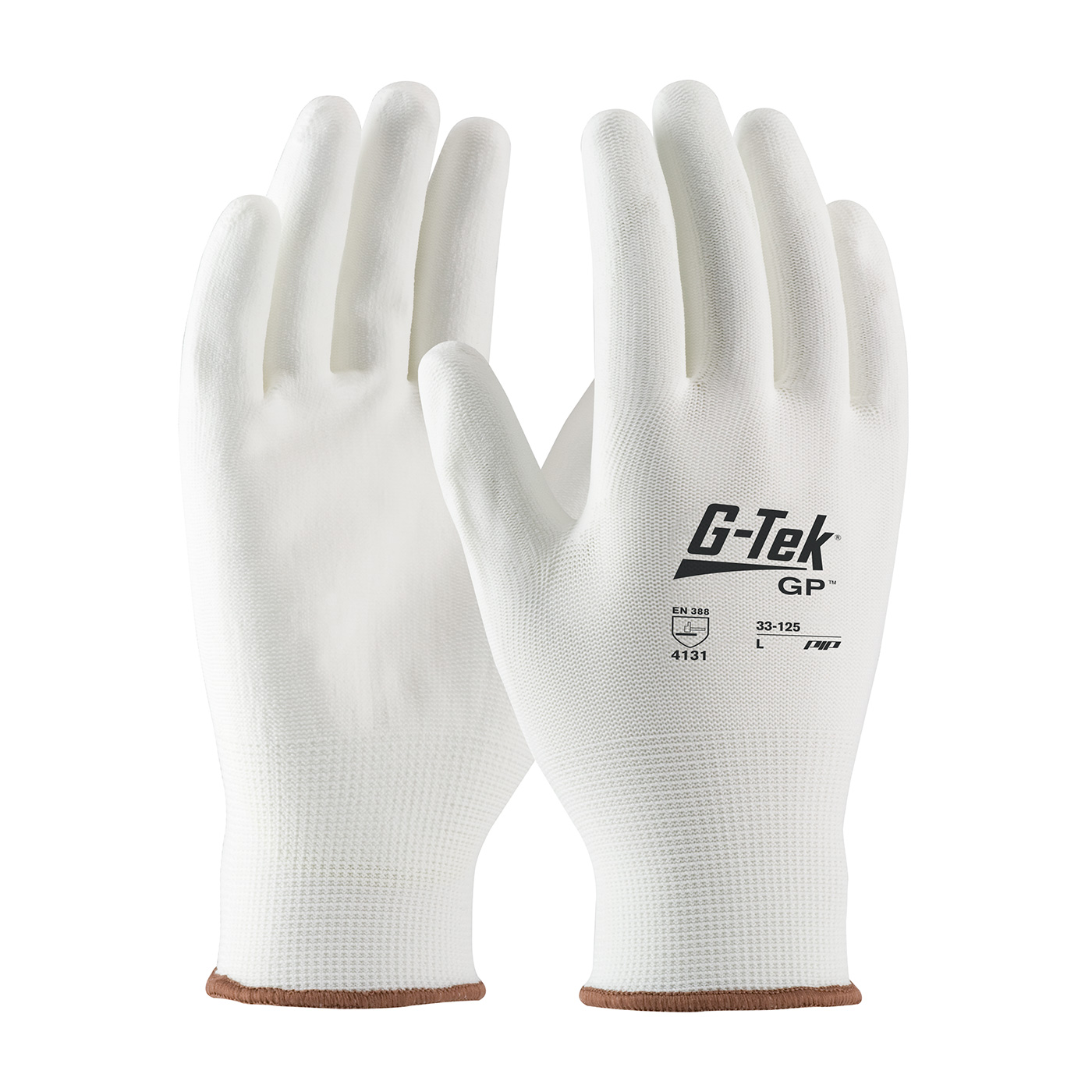#33-125 PIP® G-Tek® GP™ Seamless Knit White Nylon Glove with White Polyurethane Coated Smooth Grip on Palm & Fingers