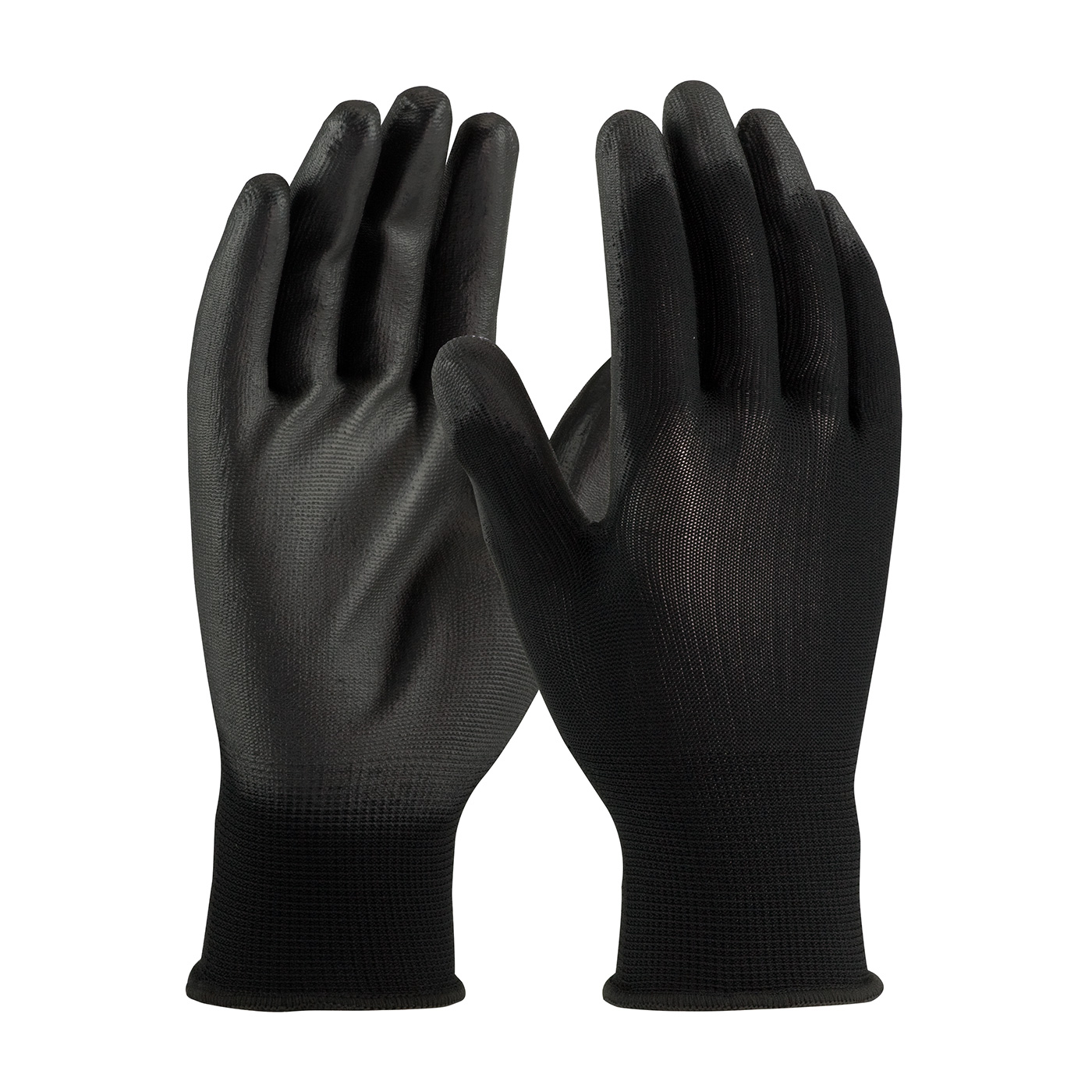 PIP® Seamless Knit Black Polyester Glove with Black Polyurethane Coated Smooth Grip on Palm & Fingers #33-B115
